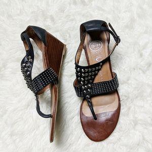 Jeffrey Campbell Black Silver Stud Wedge Sandal 10